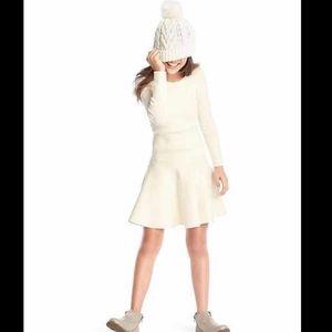 Gap girls white knit tiered swing dress